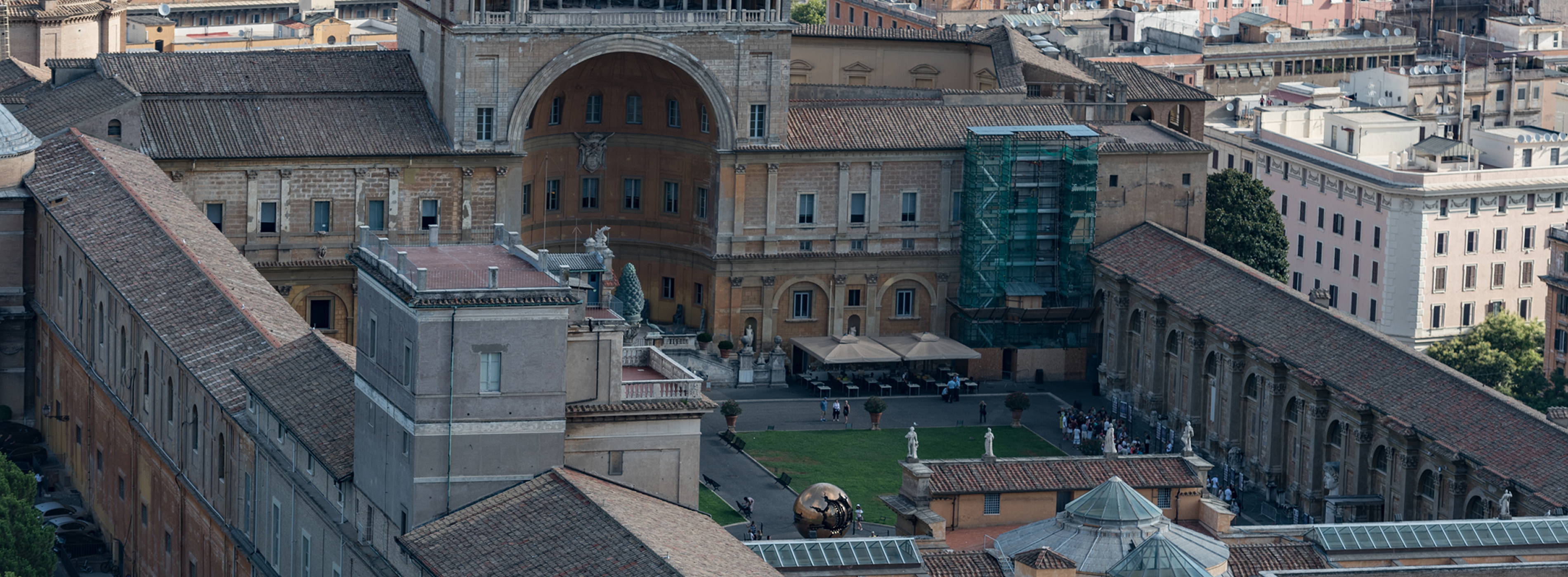 Looking down at the Courtyard of the Vatican Museum in Rome