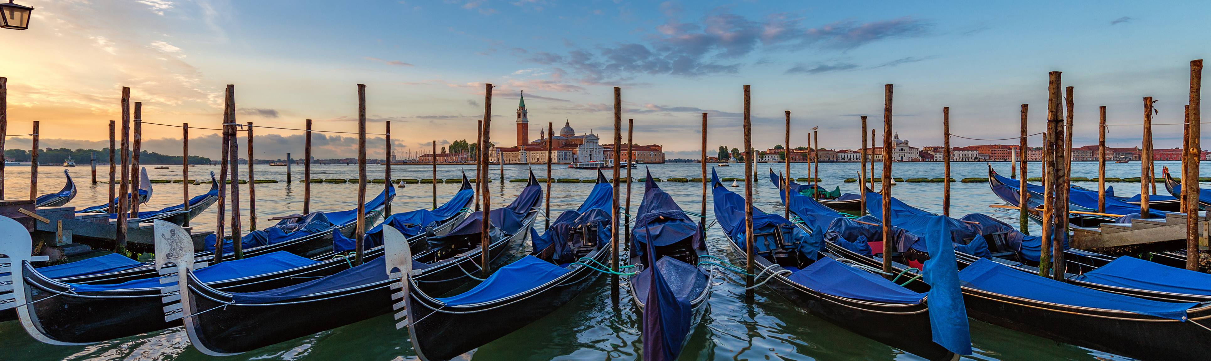 Row of covered gondolas with Venice in the background