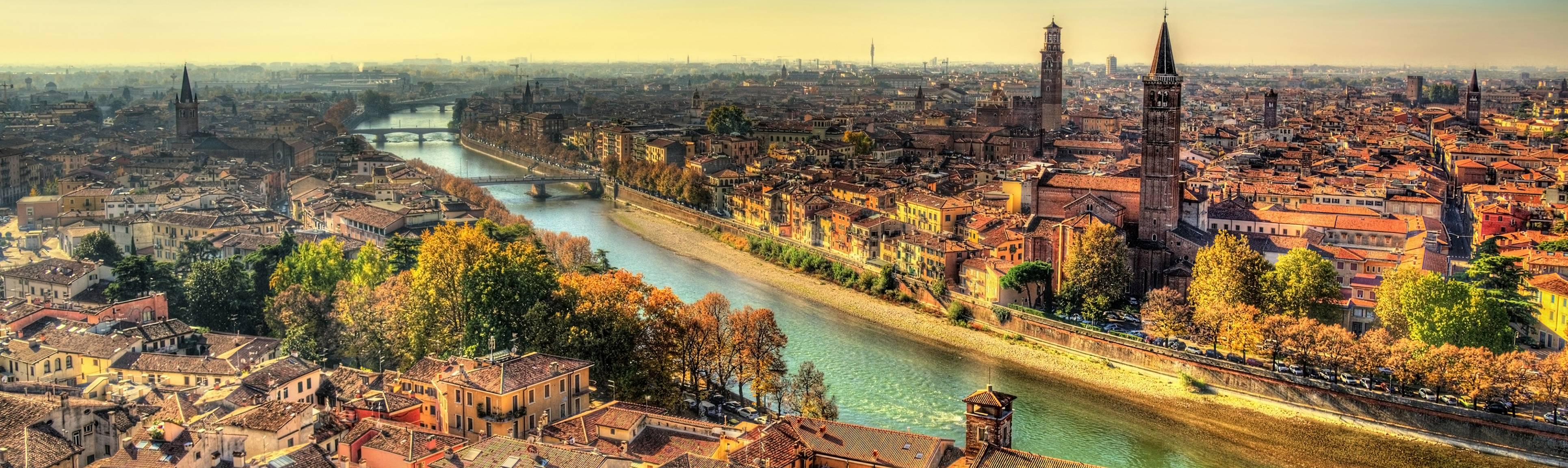 Bird's eye view of the river and Verona, Italy