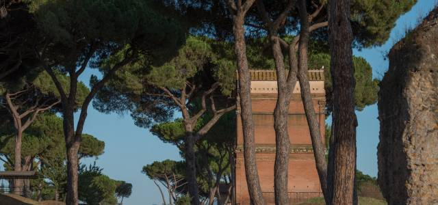 View of trees along the Appian Way in Rome