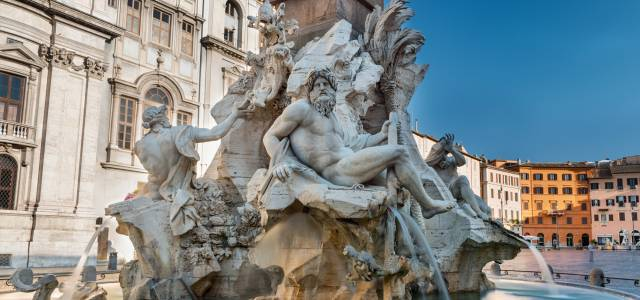 Detail of multiple figures at the fountain in Piazza Navona, Rome