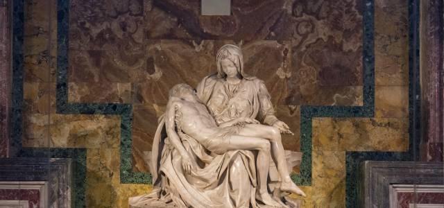Michelangelo's La Pieta showing Mary holding Jesus' dead body
