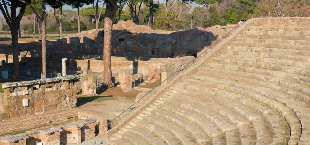 Rows of amphitheater seats at Agrippa's Theatre, Ostia near Rome