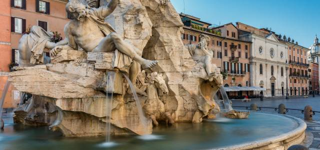 Closeup view of fountain at Piazza Navona in Rome