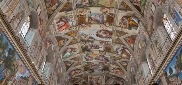 Looking up at the Sistine Chapel in Rome