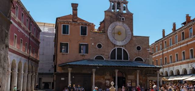 Face of clock of San Giacometto Church at the Rialto Bridge in Venice