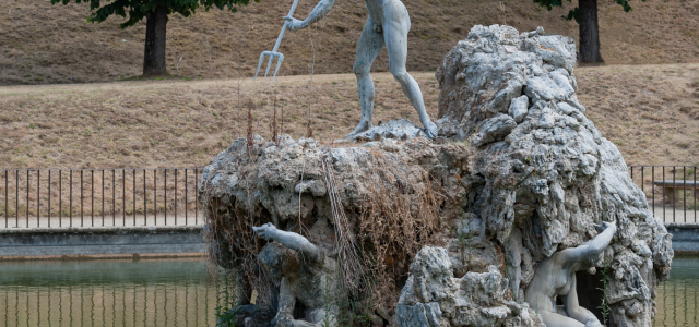 Detail view of Neptune fountain in the Boboli Gardens, Florence