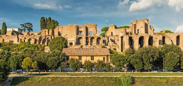 View of Ruins of Circus Maximus in Rome, Italy