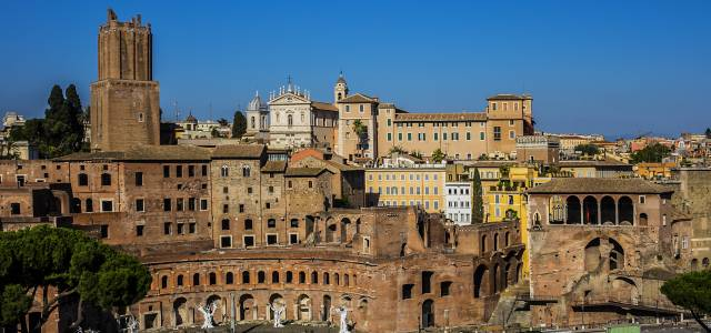 View of complex of shops and buildings at Trajan's Market in Rome