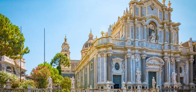 View of the front facade of the Cathedral of Santa Agatha in Catania, Italy