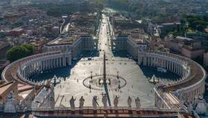 Bird's eye view of St. Peter's Square in the Vatican