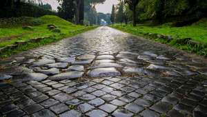 Detail of cobblestone road along the Appian Way in Rome