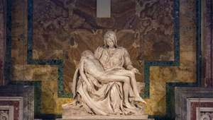 Michelangelo's La Pieta showing Mary holding Jesus' dead body