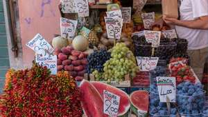 Display of fruits at an open-air market in Rome