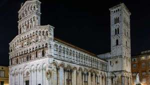 Basilica San Michele at night in Lucca, Tuscany