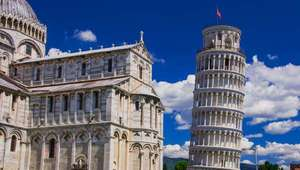 View of leaning tower and Cathedral of Pisa in Pisa, Italy