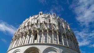 View of domed top of Pisa Baptistry in Pisa, Italy