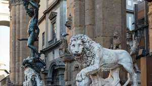 Statues of Perseus and Lion at the Piazza della Signoria in Florence
