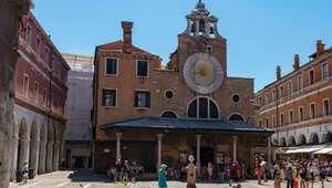 Face of clock of San Giacometto Church at the Rialto Bridge in Venice